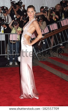 Gisele Bundchen, wearing a Versace gown, at Superheroes Fashion and Fantasy Gala, Metropolitan Museum of Art Costume Institute, New York, NY, May 05, 2008 - stock photo