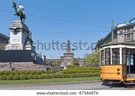Giuseppe Garibaldi equestrian statue at Milan, Italy - stock photo