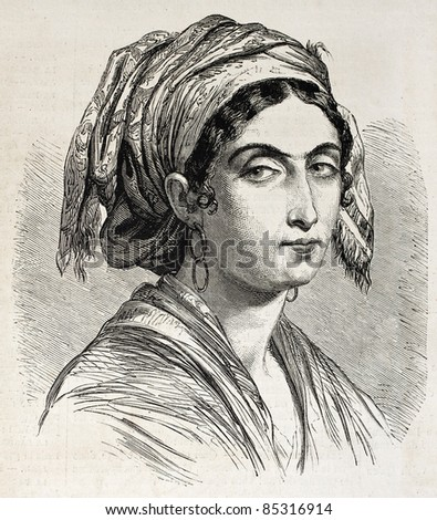 Giuseppina Bolognari old engraved portrait, heroin of Italiian Risorgimento in Catania, Sicily. Created by Marc, published on L'Illustration, Journal Universel, Paris, 1860 - stock photo