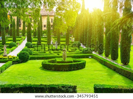 Giusti Garden in Verona,Italy - stock photo