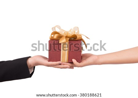 Give a present,gift box in hand girls with clipping path
