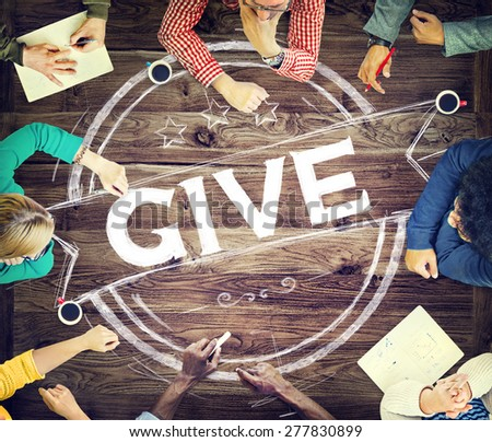 Give Help Donation Support Provide Volunteer Concept - stock photo