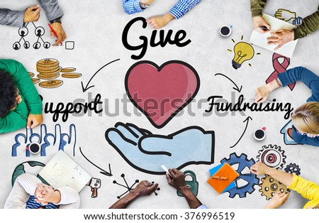 Give Support Fundraising Help Charity Concept - stock photo
