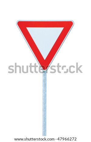 Give way priority yield road traffic roadsign sign, isolated - stock photo