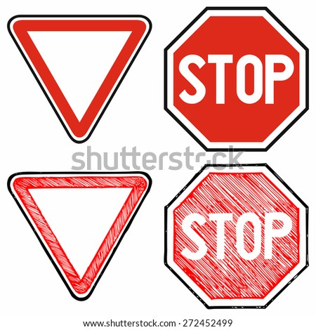 Give way road and Stop. Road signs priority. Raster version - stock photo