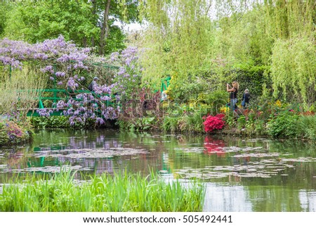 GIVERNY, FRANCE - MAY 09: Tourists visit Claude Monet's house and gardens in Giverny, France On May 09, 2016.