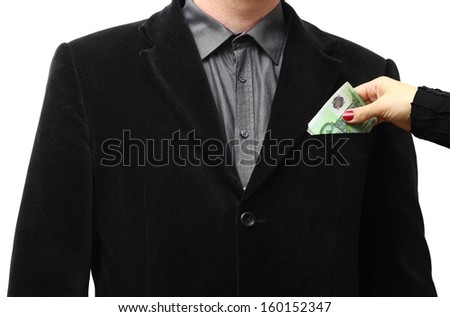 Giving a bribe into a suit pocket
