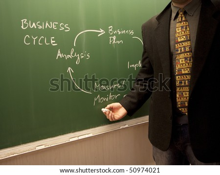 Giving a business lecture in a university lecture hall - stock photo