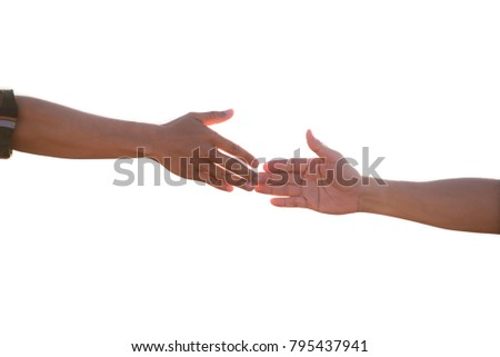 Giving a helping hand and team work concept.  Hand helping another on white background .  Giving a helping hand. Helping hands, care for the family concept .