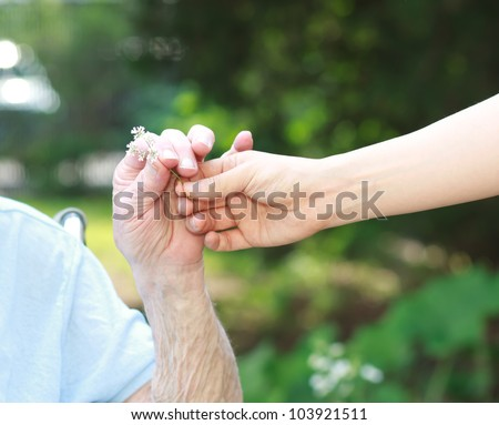 Giving a small white flower to senior lady
