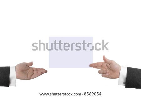 Giving and Receiving Large Business Card (Plenty Copy Space) - stock photo