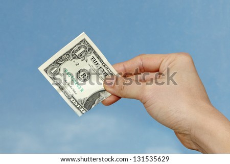 Giving dollar - stock photo
