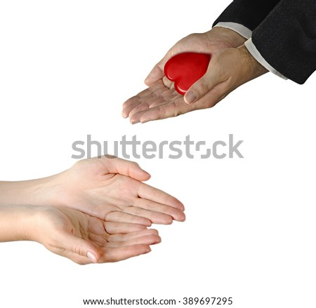 Giving gift of heart - stock photo