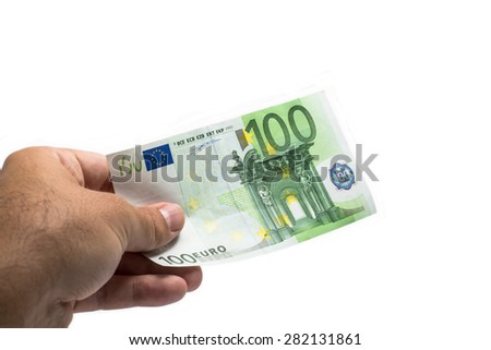 giving hand 100 euro banknote - stock photo