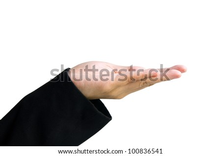 giving hand isolated on white background - stock photo