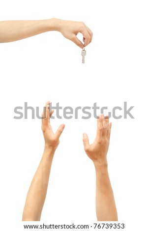 Giving key - stock photo