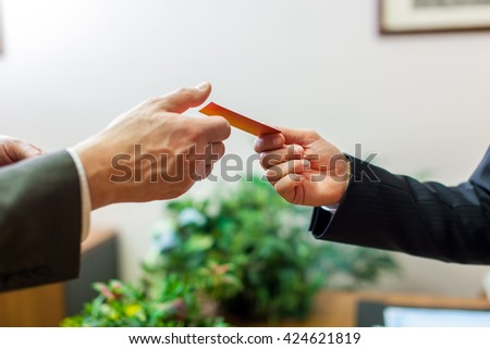 Giving the business card