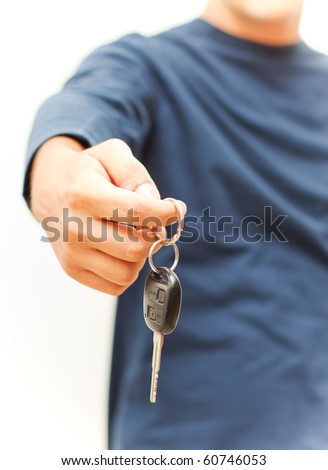 Giving the key - stock photo