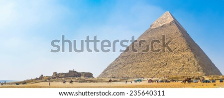 Giza archaeological site is one of the most popular places in Egypt. - stock photo