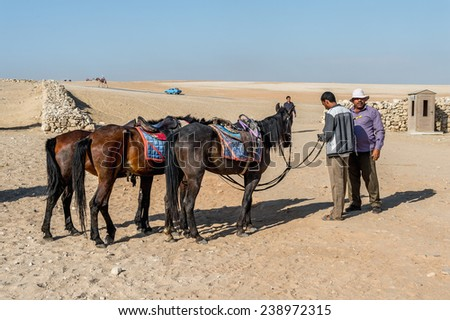 GIZA, EGYPT - NOV 23, 2014: Unidentified Egyptian people ride horse carriage at Giza Necropolis, Egypt. UNESCO World Heritage - stock photo