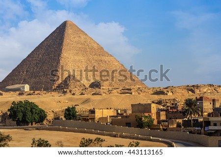 Giza Pyramid Cheops. Landscape of the great pyramids of Giza, Egypt