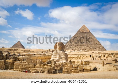 Giza Pyramids - Cairo, Egypt - stock photo