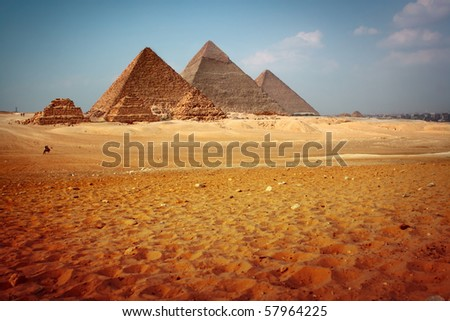 Giza valley with Great pyramids. Egypt - stock photo