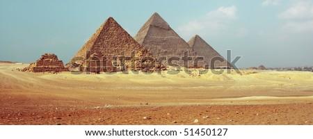 Giza valley with pyramids - stock photo