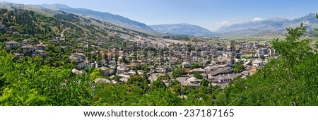 Gjirokaster  - town of silver roofs in Albania - stock photo