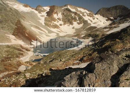glacial lake Blanco de Lliterola, Pyrenees - stock photo