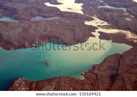 Glacial lake, Greenland - stock photo