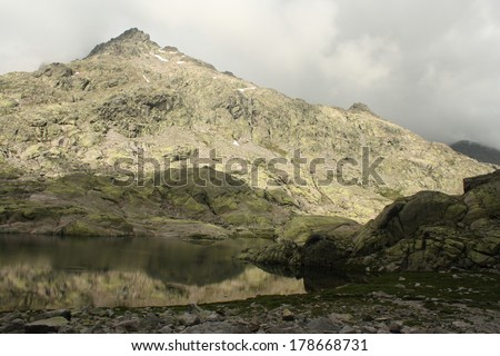glacial lake in Sierra de Gredos, Spain - stock photo