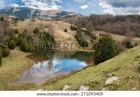 Glacial lake in the Catalan Pyrenees - stock photo