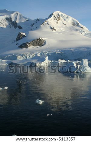 Glaciated mountain, reflected in ocean mirror,		Erreras Channel, 	Antarctica