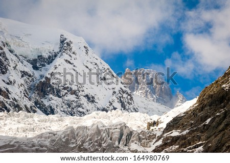 Glacier among the rocks and high mountains