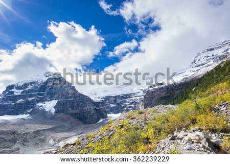 glacier and peak in banff national park in the rocky mountains of alberta canada - stock photo