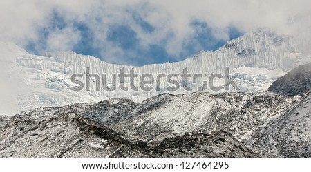 Glacier Chhukhung and ice wall in the array in district Mount Everest - Nepal, Himalayas - stock photo