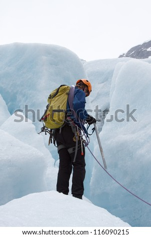 Glacier guide on the Bodalsbreen (Jostedalsbreen national park, Norway)