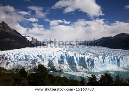 Glacier ice in Perito Moreno Patagonia - stock photo