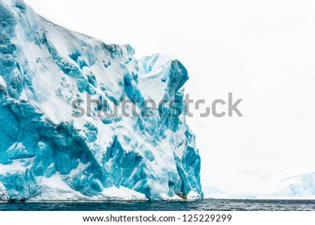 Glacier in Antarctica, South Pole. - stock photo