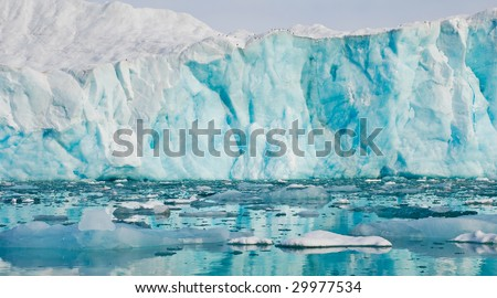 Glacier in Arctic Spitsbergen - stock photo