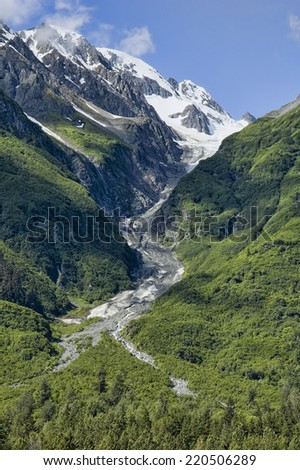 Glacier in Haines, Alaska on the Chilkat River - stock photo