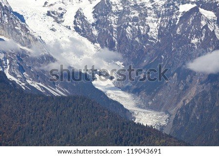 Glacier in snowy mountains - stock photo