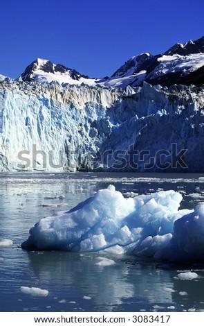 glacier in the sea bay. - stock photo