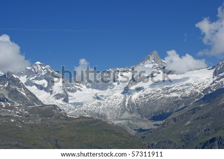 Glacier in the Swiss alps close to mount Matterhorn - stock photo