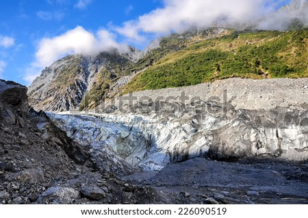 Glacier in Westland National Park on the South Island of New Zealand. - stock photo
