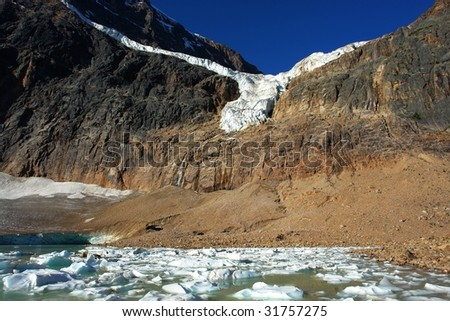 Glacier lake and mountain edith cavell in jasper national park, alberta, canada - stock photo