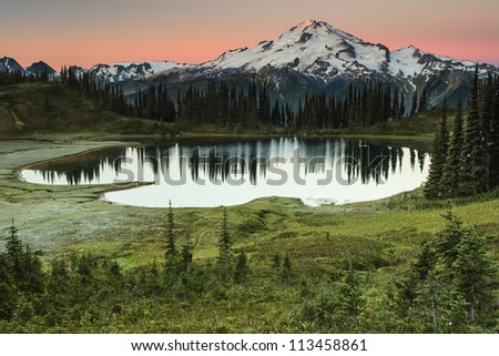 Glacier Lake with Mountain at sunset