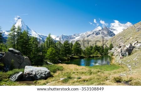 Glacier lake with mountains in the Alps, Zermatt - stock photo