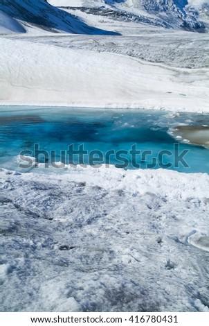 Glacier melt in bright sunshine global warming climate change ice water aqua blue - stock photo